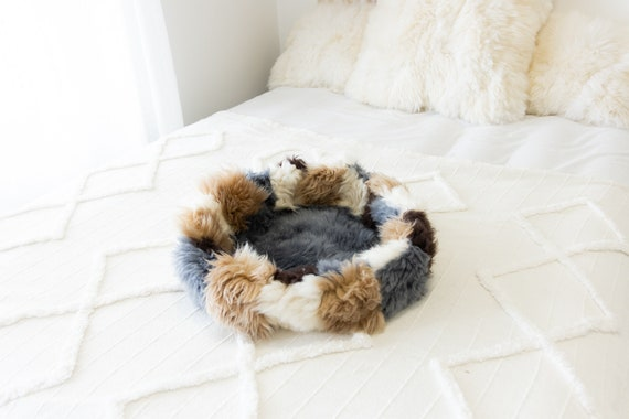 Sheepskin Cat Bed Or Dog Bed Cat Cave Unique Pet Bed Cat House Pet Furniture Hand Made With Genuine Real Sheepskin XXL Extra Large #Bed26
