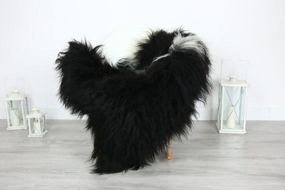 Icelandic Sheepskin | Real Sheepskin Rug | | Large Sheepskin Rug Black| Fur Rug | Homedecor | Sheepskin Throw | Long fur #colisl3