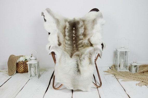 Reindeer Hide   Reindeer Rug   Reindeer Skin   Throw XXL EXTRA LARGE - Scandinavian Style Christmas Decor Brown White Hide #Kre3