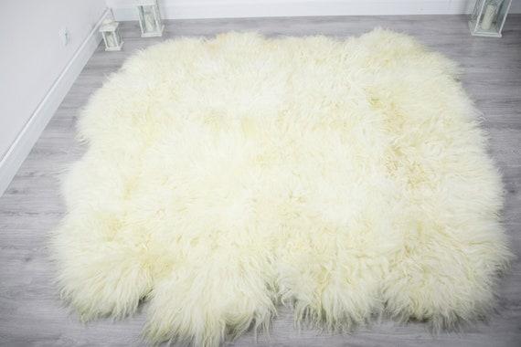 Luxurious Icelandic Sheepskin Real Fur Throw | Real Fur Blanket | Sheepskin throw | Ivory Throw