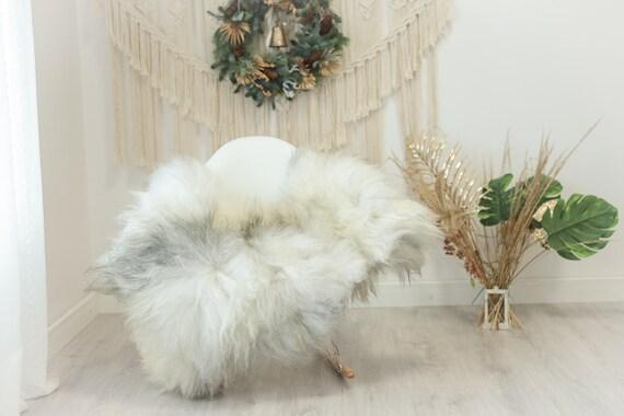 Real Icelandic Sheepskin Rug Scandinavian Decor Sofa Sheepskin throw Chair Cover Natural Sheep Skin Rugs Ivory Gray #Iceland104