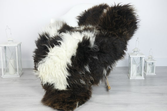 Real Sheepskin Rug Shaggy Rug Chair Cover Sheepskin Throw Sheep Skin Brown Sheepskin Home Decor Rugs #7her26