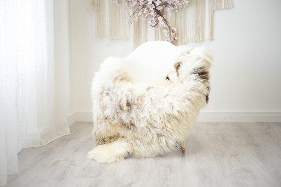 Real Sheepskin Rug Shaggy Rug Chair Cover Scandinavian Home Sheepskin Throw Sheep Skin Ivory Brown Sheepskin Home Decor Rugs #herdwik258