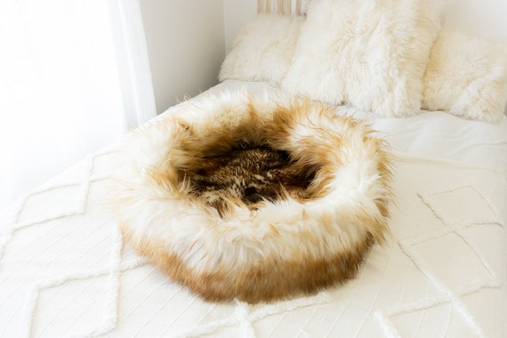 Sheepskin Cat Bed Or Dog Bed Cat Cave Unique Pet Bed Cat House Pet Furniture Hand Made With Genuine Real Sheepskin XXL Extra Large #Bed33