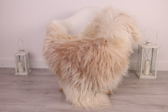 Real Icelandic Sheepskin Rug Scandinavian Decor Sofa Sheepskin throw Chair Cover Natural Sheep Skin Rugs Beige Ivory Blanket Fur Rug #Am29