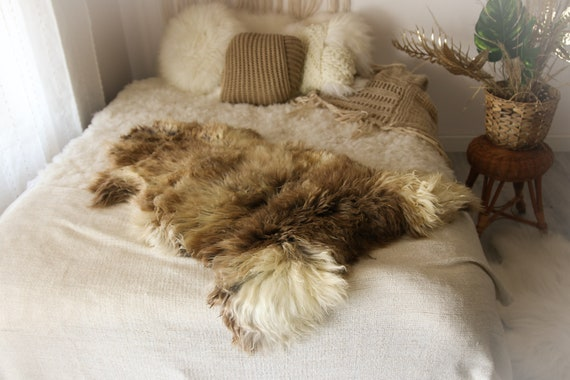 Real Sheepskin Rug Shaggy Rug Chair Cover Sheepskin Throw Sheep Skin Ivory Brown Sheepskin Home Decor Rugs #OCTHER72