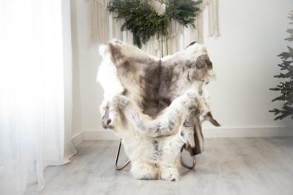 Reindeer Hide   Reindeer Rug   Reindeer Skin   Throw XXL EXTRA LARGE - Scandinavian Style Christmas Decor Brown White Hide #Reindeer91