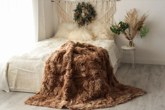 Luxurious Patchwork Toscana Sheepskin Real Fur Throw   Real Fur Blanket   Sheepskin throw   Boho Throw   5fu4