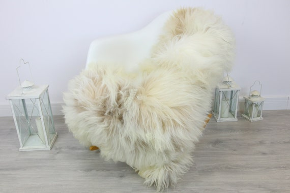Ivory White Real Icelandic Sheepskin Rug Home Decor