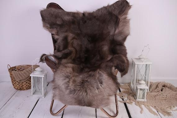 Reindeer Hide   Reindeer Rug   Reindeer Skin   Throw XXL EXTRA LARGE - Scandinavian Style Christmas Decor Brown White Hide #Lre3