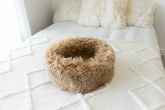 Sheepskin Cat Bed Or Dog Bed Cat Cave Unique Pet Bed Cat House Pet Furniture Hand Made With Genuine Real Sheepskin XXL Extra Large #Bed2