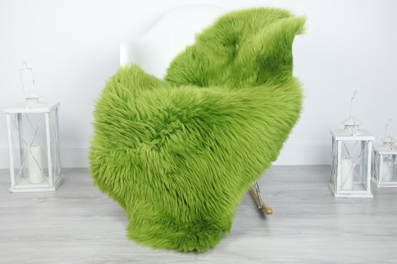 Real Sheepskin Rug Shaggy Rug Chair Cover Sheepskin Throw Sheep Skin Green Sheepskin Home Decor Rugs #7her18