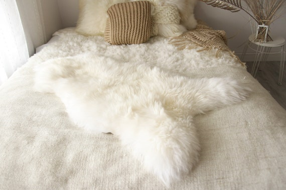 Christmas Collection - Real, Natural, Genuine Creamy White Sheepskin Rug Scandinavian Design - 3 SIZES!