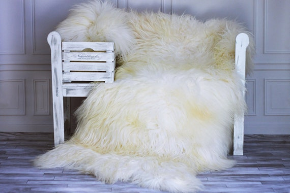 Genuine Natural ICELANDIC SHEEPSKIN RUG, Throw, Triple - Square - Creamy White