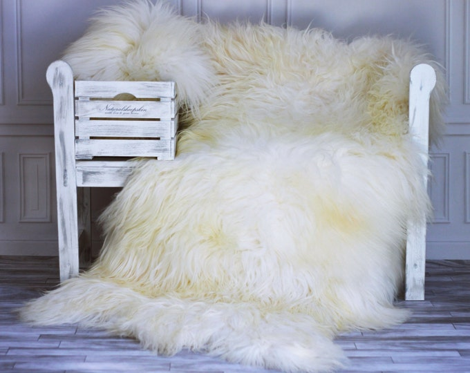 Genuine Natural ICELANDIC SHEEPSKIN RUG, Throw, Triple - Square - Creamy White