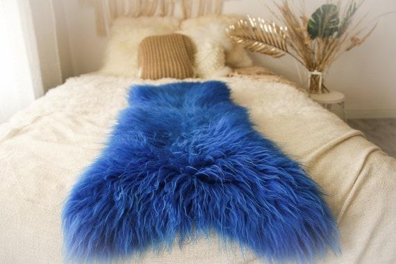 Genuine Natural Indigo Sheepskin Rug Sheepskin Throw  Scandinavian Style   Scandinavian Rug   Indigo  Sheepskin