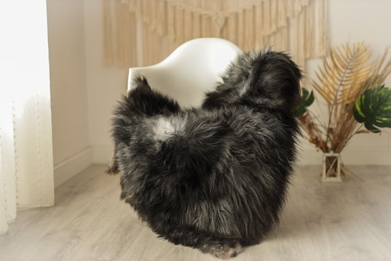 Real Icelandic Sheepskin Rug Scandinavian Decor Sofa Sheepskin throw Chair Cover Natural Sheep Skin Rugs Gray Black  #Iceland23