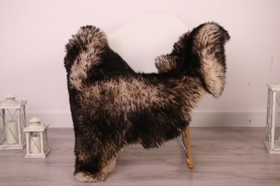 Real Sheepskin Rug Shaggy Rug Chair Cover Sheepskin Throw Sheep Skin Black White Sheepskin Home Decor Rugs #8her6