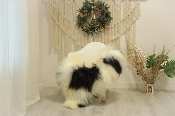 Real Icelandic Sheepskin Rug Scandinavian Decor Sofa Sheepskin throw Chair Cover Natural Sheep Skin Rugs Ivory Black #Iceland86