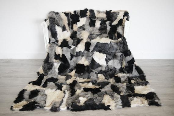 Luxurious Patchwork Toscana Sheepskin Real Fur Throw | Real Fur Blanket | Sheepskin throw | Gray Black |Fu992