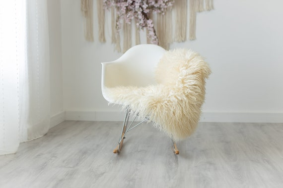 Real Sheepskin Rug Genuine Rare Curly Sheepskin Rugs - Curly Fur Rug Scandinavian Sheep skin - White Sheepskin #G8