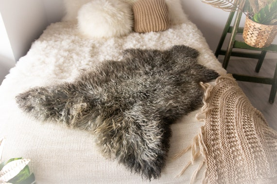 Real Sheepskin Rug Genuine Rare Gotland Sheepskin Rus - Curly Fur Rug Scandinavian Sheep skin - Gray Brown Sheepskin #Bohgot2