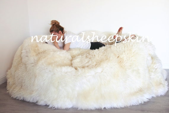 Huge Bean bag bed Creamy White | Sheepskin Bean Bag | Sheepskin Pouf | Fur Bean Bag Giant Bean Bag Furry Bean Bag | Bean Bag | Beanbag |