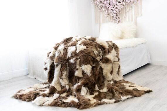 Luxurious Patchwork Toscana Sheepskin Real Fur Throw | Real Fur Blanket | Sheepskin throw | Sheepskin Blanket | Boho Throw |FuFu45
