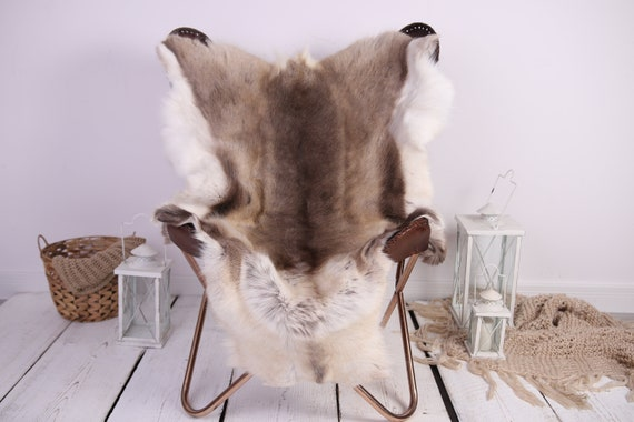 Reindeer Hide | Reindeer Rug | Reindeer Skin | Throw XXL EXTRA LARGE - Scandinavian Style Christmas Decor Brown White Hide #Lre1