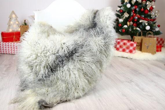 Genuine Rare Gotland Sheepskin Rug - Curly Fur Rug - Natural Sheepskin - Gray  Sheepskin #CHRISTGOT15