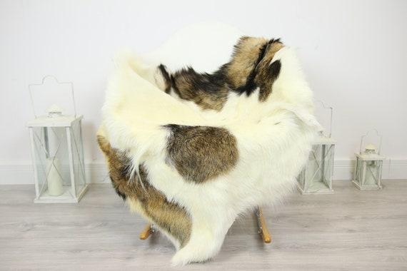 Natural real Goatskin rug, Goat Hide Goat Rug Beige Brown #Goat20