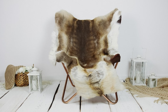 Reindeer Hide | Reindeer Rug | Reindeer Skin | Throw XXL EXTRA LARGE - Scandinavian Style Christmas Decor Brown White Hide #Kre6
