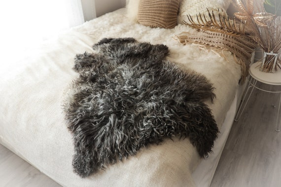 Real Sheepskin Rug Genuine Rare Gotland Sheepskin Rus - Curly Fur Rug Scandinavian Sheep skin - Gray Brown Curly Sheepskin #2Bohgot3