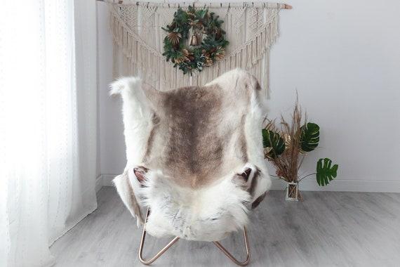Reindeer Hide | Reindeer Rug | Reindeer Skin | Throw XXL EXTRA LARGE - Scandinavian Style Christmas Decor Brown White Hide #Pre1