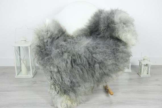 Genuine Rare Gotland Sheepskin Rug - Curly Fur Rug - Natural Sheepskin - Gray Sheepskin #CURLY20