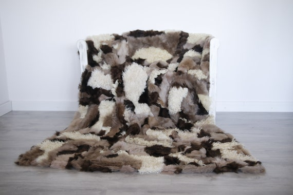 Luxurious Toscana Sheepskin Real Fur Throw | Real Fur Blanket | Sheepskin throw | Throw | Fu993