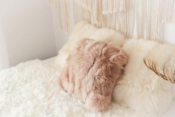 Champagne Sheepskin Pillow ON SALE Beautiful Natural Creamy White Real Sheepskin Decorative Cushion Both Side Fur Scandinavian Style