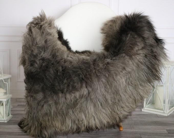 Sheepskin Rug | Real Sheepskin Rug | Shaggy Rug | Sheepskin Throw | Super Large Sheepskin Rug Black Gray | Home Decor | #HERMAJ82