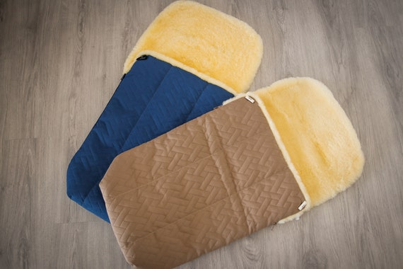 Real Natural Sheepskin Fur Universal Waterproof Footmuff Very Warm Premium Quality Winter Footmuff Stroller Pad Baby Sleeping sack