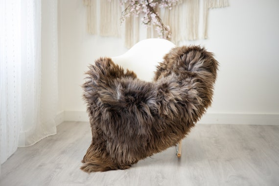 Real Sheepskin Rug Shaggy Rug Chair Cover Scandinavian Home Sheepskin Throw Sheep Skin Brown Sheepskin Home Decor Rugs #herdwik263