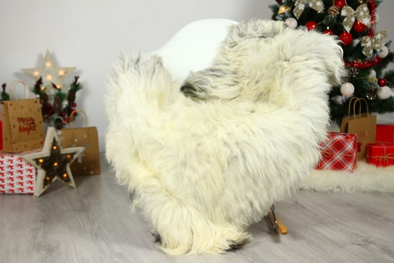 Organic Sheepskin Rug, Real Sheepskin Rug, Gute Sheepskin, Gray Beige Sheepskin Rug Christmas Home #GUTCHRIS14