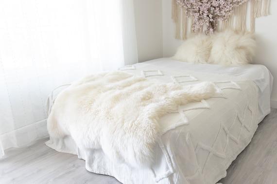 Double  Sheepskin Rug | Long rug | Shaggy Rug | Chair Cover | Area Rug | Double Rug | Carpet | Sheep skin #3pol7
