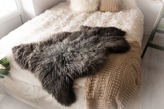 Real Sheepskin Rug Genuine Rare Gotland Sheepskin Rus - Curly Fur Rug Scandinavian Sheep skin - Gray Brown Sheepskin #Bohgot3
