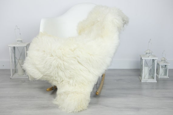 Real Sheepskin Rug Shaggy Rug Chair Cover Sheepskin Throw Sheep Skin Creamy White Sheepskin Home Decor Rugs #7her22
