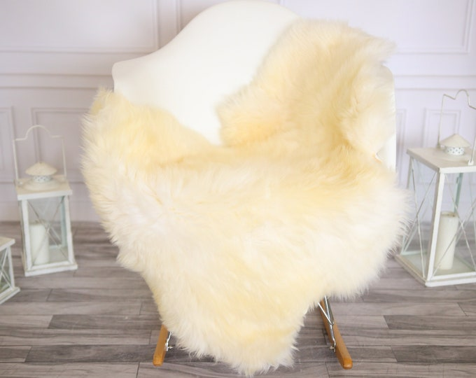 Genuine Natural Ivory Sheepskin Rug Sheepskin Throw  Scandinavian Style | Scandinavian Rug| Ivory Sheepskin
