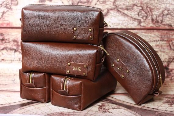 HANDMADE Personalised Men's Leather Toiletry Case Dopp Kit Shaving Bag OOAK Dad Boyfriend Gift
