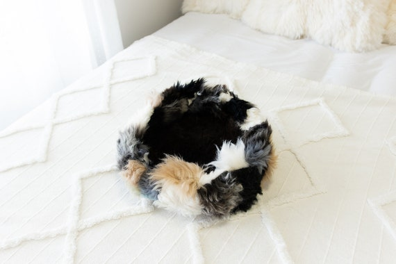 Sheepskin Cat Bed Or Dog Bed Cat Cave Unique Pet Bed Cat House Pet Furniture Hand Made With Genuine Real Sheepskin XXL Extra Large #Bed29
