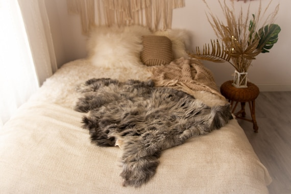 Real Sheepskin Rug Shaggy Rug Chair Cover Sheepskin Throw Sheep Skin Gray Sheepskin Home Decor Rugs Sheep skin Grey #Nugut9