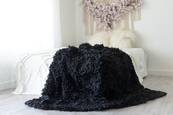 Luxurious Patchwork Rare Curly Dartmoor Sheepskin Real Fur Throw | Real Fur Blanket | Sheepskin throw | Sheepskin Blanket Black #FuFu86