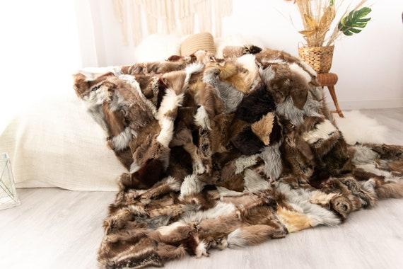 Luxurious Toscana Sheepskin Real Fur Bed Spread Throw Real Fur Blanket Sheepskin throw Sofa Cover Luxury Blanket Comforter Brown #FU26
